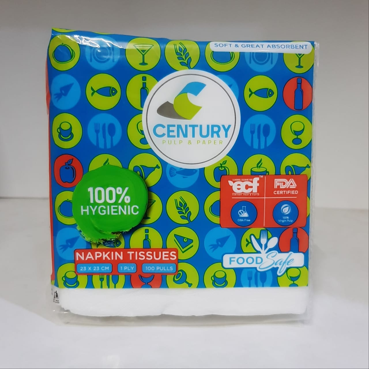 CENTURY NAPKIN TISSUES 1 PLY 23X23 100 PULLS SINGLE PACK