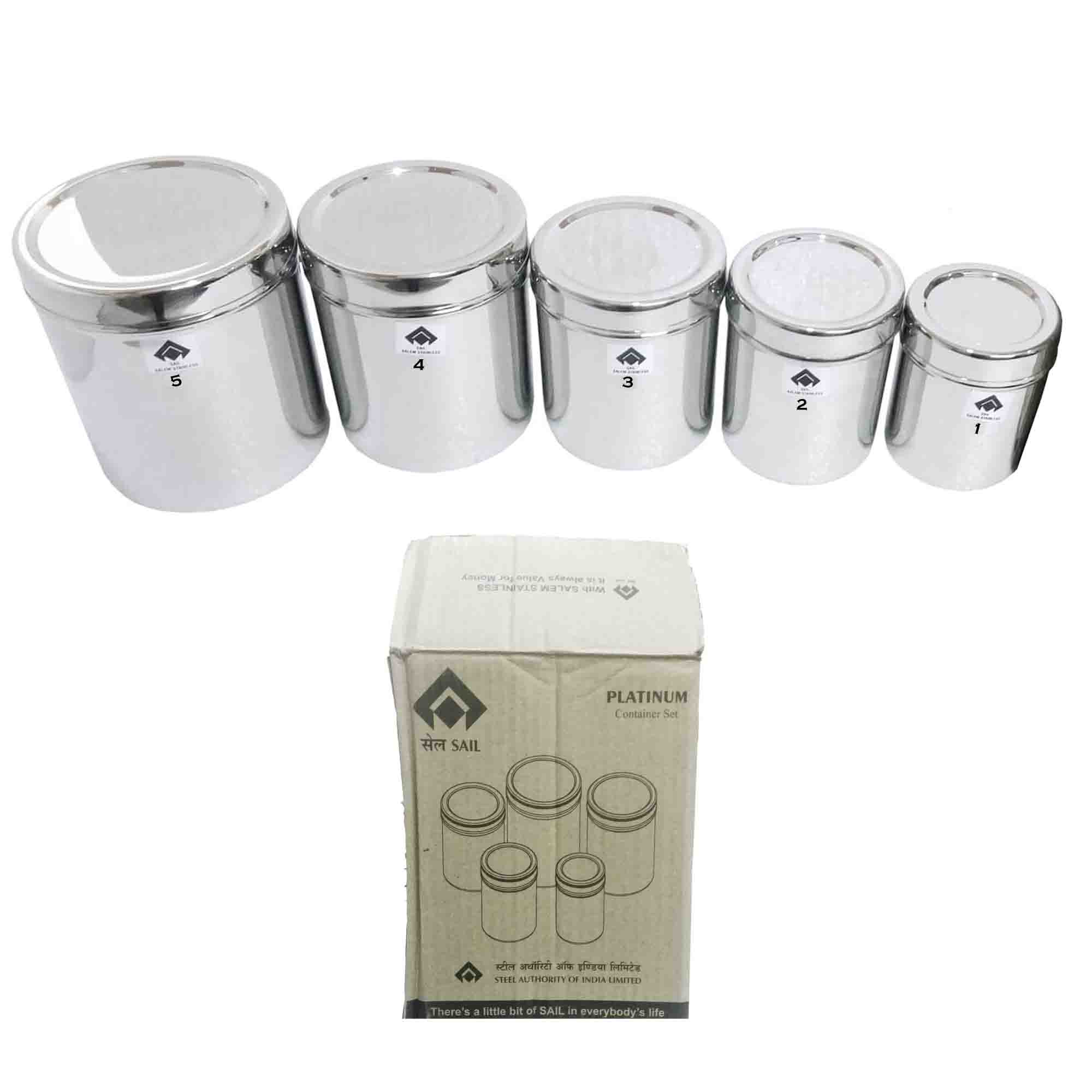 SAIL SALEM	 Stainless Steel Platinum Container Set (Dabba)