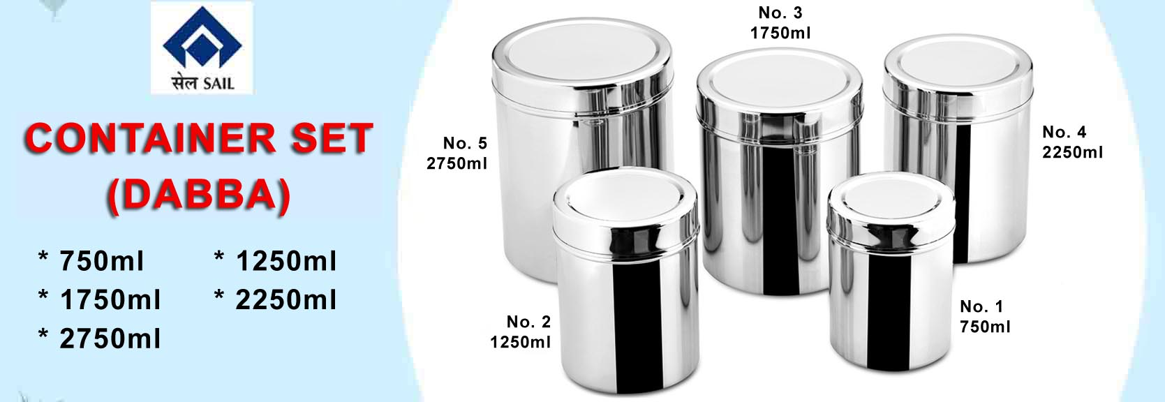 Sail Salem Stainless 5 Piece Strong Container Set